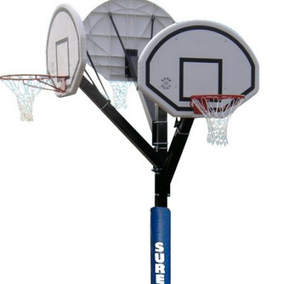 Three Hoop Basketball Post In Ground With Padding By Hotshot Sport