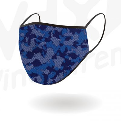 Reusable Camo Navy Blue Face Mask By Hotshot Sport